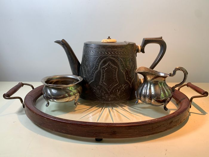 Antique Victorian Tea set serving tray star glass, teapot and milk and sugar - silver plated, glass, wood, bone