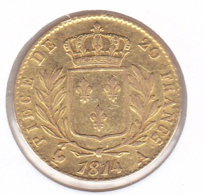 France - 20 Francs 1814 A Napoleon I - Or