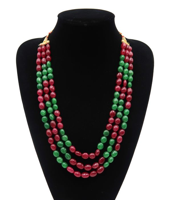Ruby and emerald pearl necklace, polished pearls - 3 rows - Ruby stone, Emerald - India - 21st century