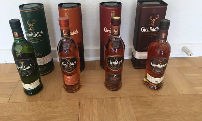 Glenfiddich 12 years old, 14 years old Rich Oak, 15 years old & 18 years old Small Batch - 70cl - 4 bottles