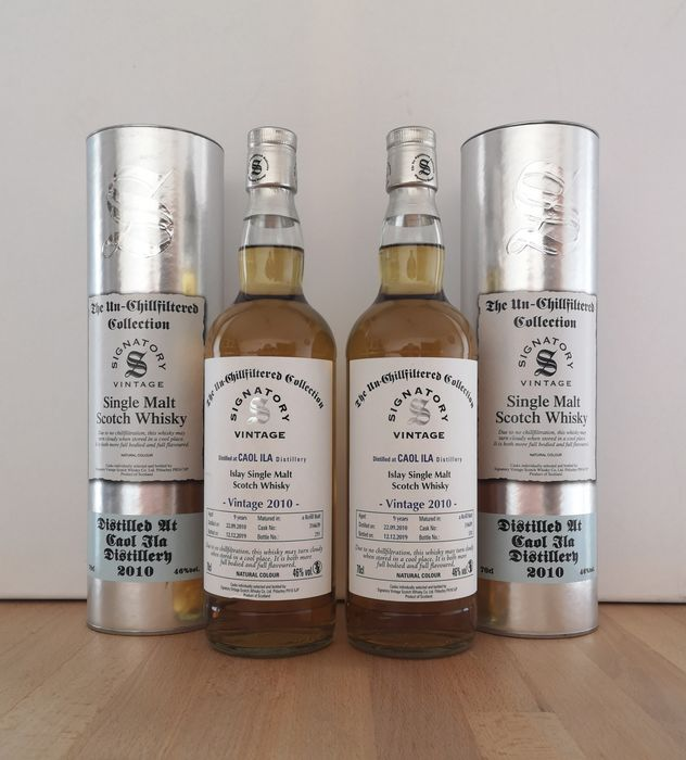 Caol Ila 2010 9 years old The Un-Chillfiltered Collection Cask 316639 - Signatory Vintage - b. 2019 - 70 cl - 2 botellas