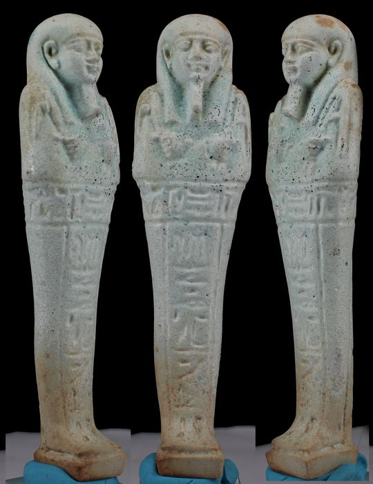 """Ancient Egyptian Faience Shabti for priest of the goddess Smentet, """"PA-DI-USIR"""" - (1)"""