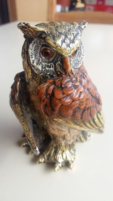 Sculpture, the owl of luck - Enamel, white metal - 20th century