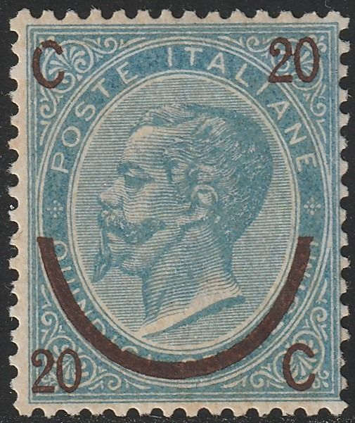 Reino de Italia 1865 - 20 c. on 15 c. 1st type - Sassone N.23