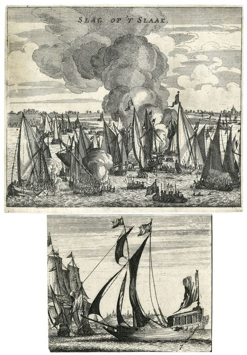 unsigned - 2 prints with sailing boats: Battle of the Slaak (1631) and 3 Boats
