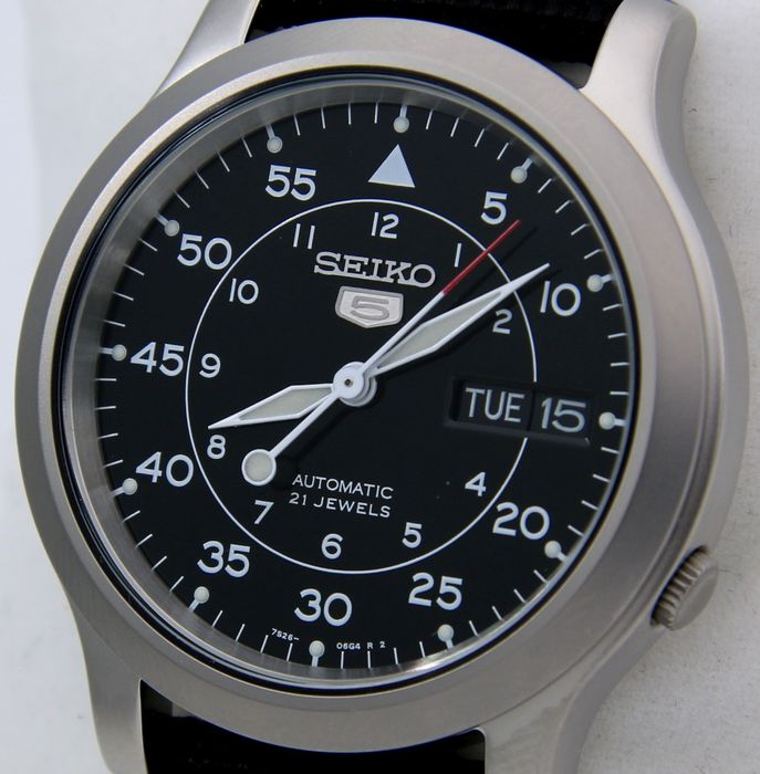 "Seiko - Automatic 21 jewels Black ""Military Style"" - - ""NO RESERVE PRICE"" - - Unisex - 2018"