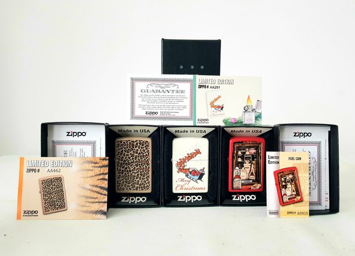 Zippo - Merry Christmas Gift Santa Claus + Fuel Cans Seal Stamp + Animal Skin Leopard Patern CGB - Limited - 3