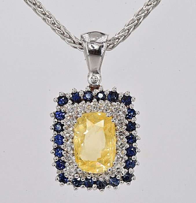 18 kt. White gold - Necklace - 3.04 ct GIA Unheated Yellow Sapphire - Diamonds, Sapphires