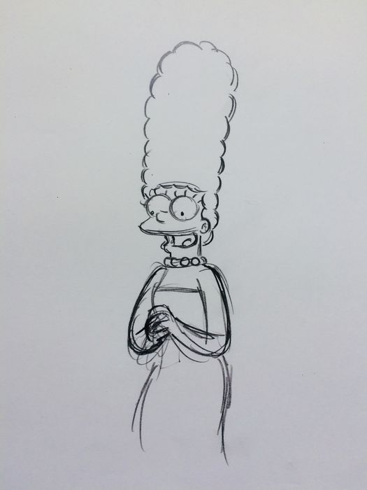The Simpsons - Marge Simpson - Original Art Animation Drawing ( 28 x 35 cm ) -  Model Size