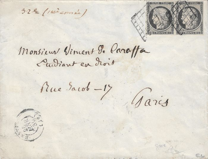 France 1849 - Superb 20 centimes with grey shade, in a pair on a letter. - Yvert 3i