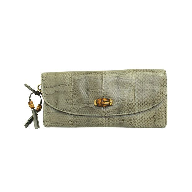 Gucci - Clutch bag Grijze Python Bamboo Clutch