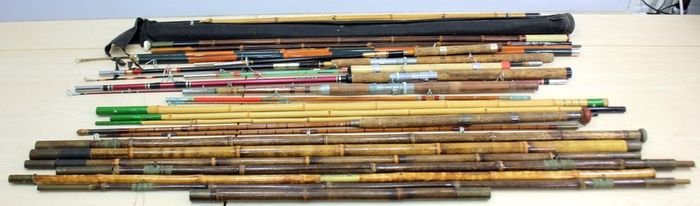 Collection of antique and vintage rods - Bamboo, Wood, optical fiber