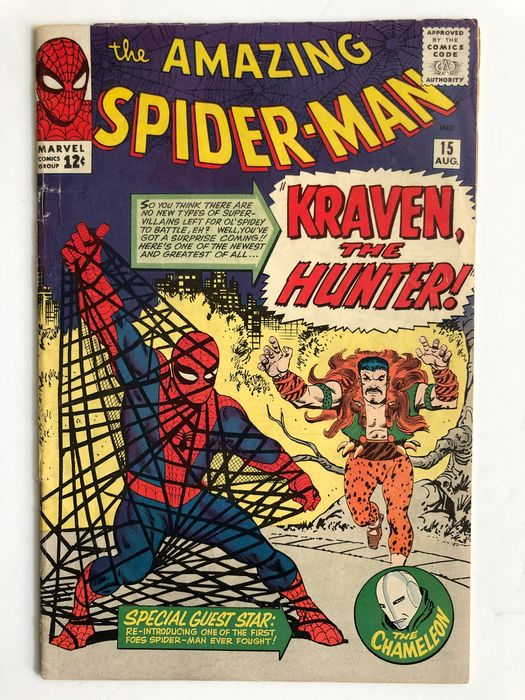 Amazing Spider-Man #15!!! - 1st Appearance Of Kraven The Hunter - 2nd Appearance Of The Chameleon - 1st Mention Of Mary Jane Watson - Mid Grade - RED HOT KEY BOOK!!! - Tapa blanda - Primera edición - (1964)