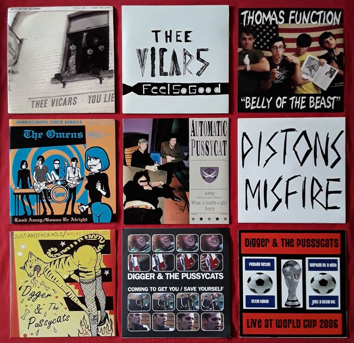 Thee Vicars / Thomas Function / The Omens / Automatic Pussycat / Piston Misfire / Digger & the - Multiple artists - Beautiful collection of 9 original  Garage/Indie/Independent Records - 45s - Multiple titles - 45 rpm Single - 2004/2008