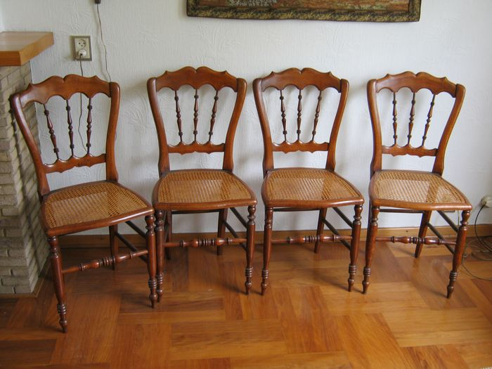 Four cherrywood chairs with wicker cover - Wood- Cherry