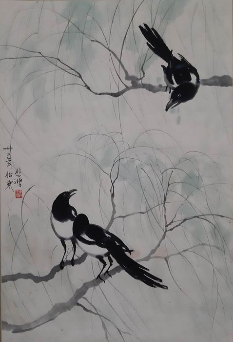 Pittura a inchiostro. - Carta di riso - 《徐悲鸿-喜鹊》Made after Xu Beihong - Cina - Seconda metà del 20° secolo