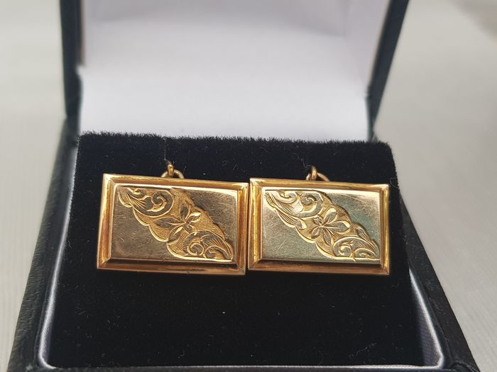 Vintage (1930) Solid Gold Cufflinks- Fully Hallmarked Excellent Condition - 9ct 375- UK Hallmark Oro giallo - Gemelli