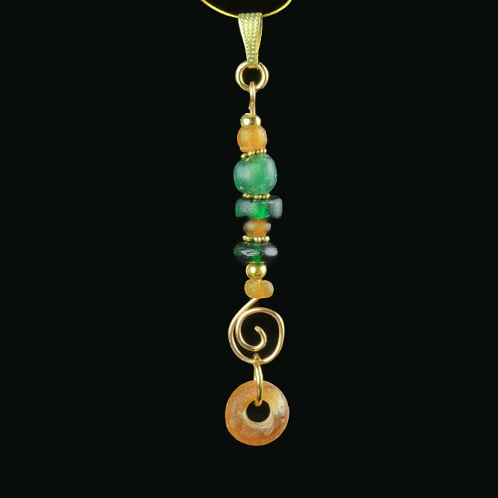 Ancient Roman Glass Pendant with green and amber colour glass beads - (1)