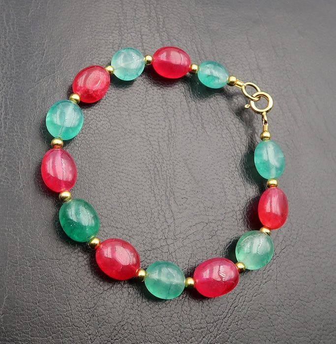 Polished emerald and ruby bracelet - Ruby stone, Emerald, 14K Gold Gold filled - India - 21st century