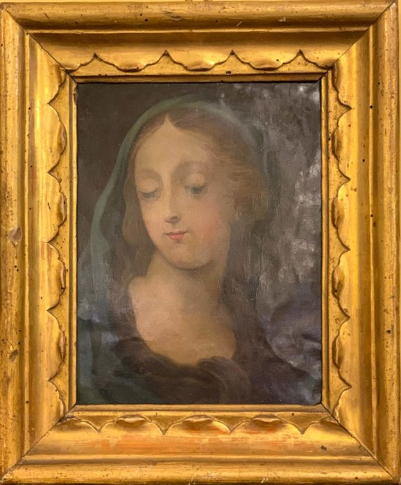 """Painting, """"Virgin Mary"""" - Copper - Second half 17th century"""