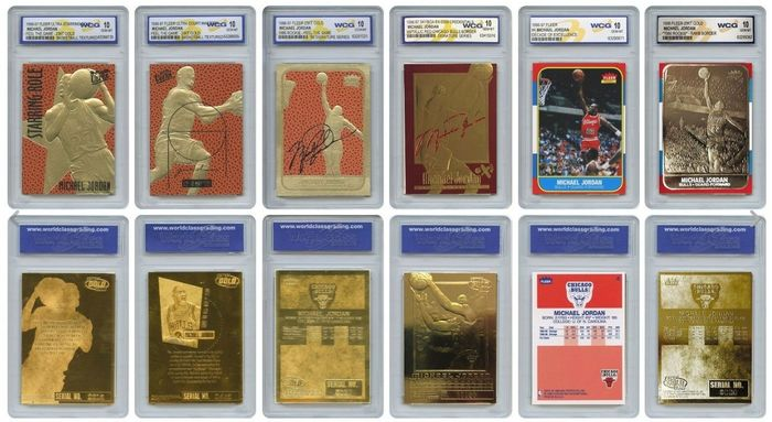 SkyBox ( Lof of 6 ) - Chicago Bulls - NBA Basketball - Michael Jordan - Gold Cards ( 23K ) - Grade 10