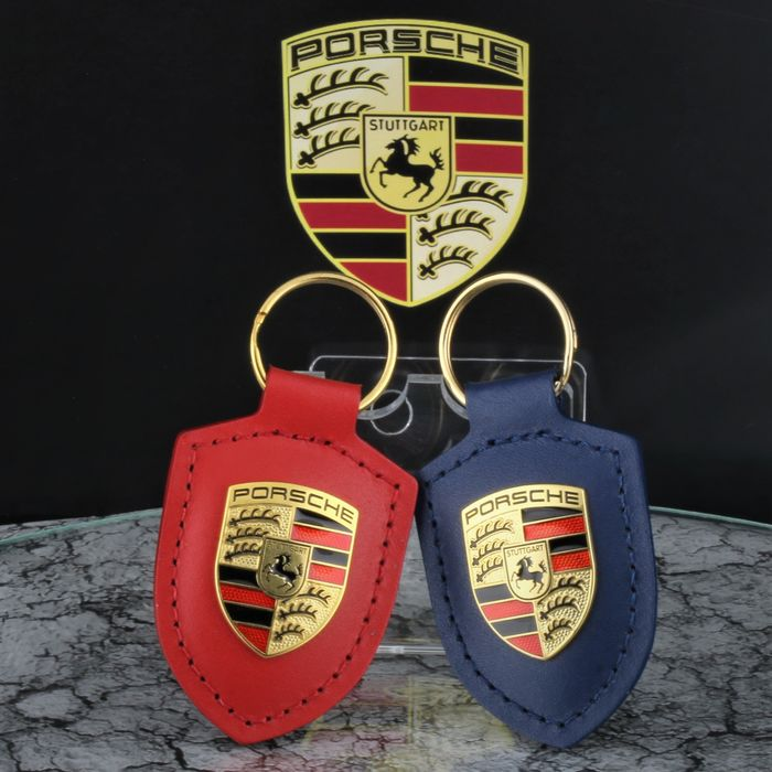 Clothing - 2019 Business Red & Blue Leather Keychain Keyholder Key ring Pendant * No Reserve Price * - Porsche - After 2000