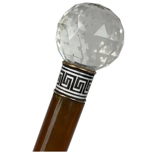 Walking stick with facet cut crystal button with silver enamel meander edge - Crystal, Enamel, Silver, Wood - Circa 1900