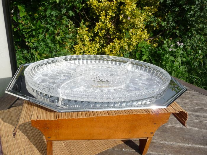 Jean Couzon - very beautiful and large French crystal serving dish - Crystal, Steel (stainless)