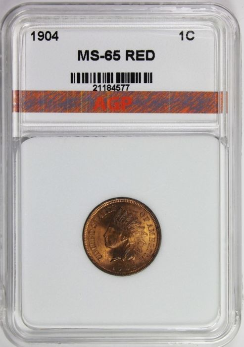 USA - Cent 1904 (Indian Head) in Slab