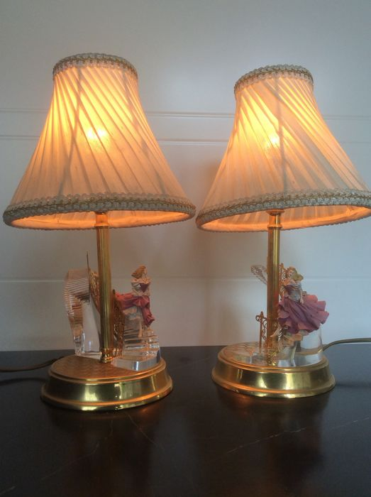Collectors two lamp 'Cinderella' (2) - Brass, Crystal, Plastic