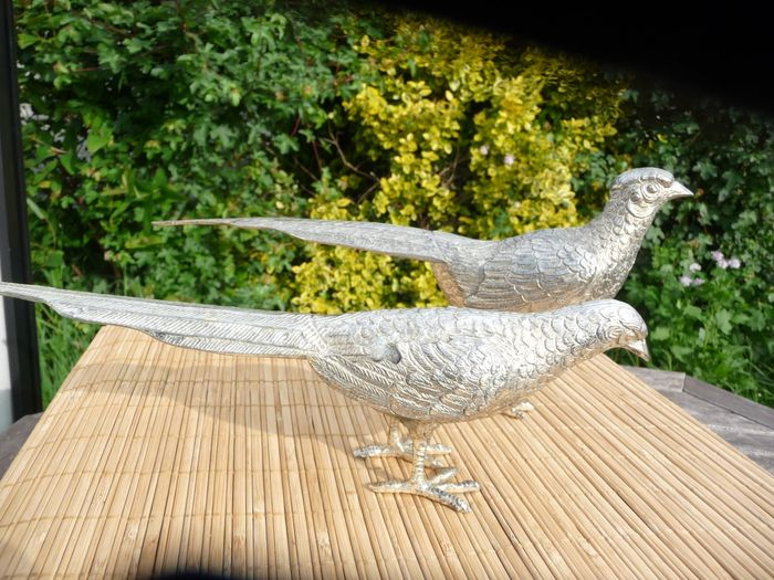 Very nice silver plated couple of pheasants (2) - Silverplate