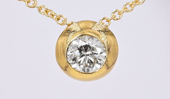 18 kt. Yellow gold - Solitaire necklace - 0.52 ct Diamond