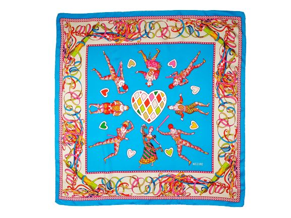 Moschino - Zijde Scarf with Circus Artists Pattern