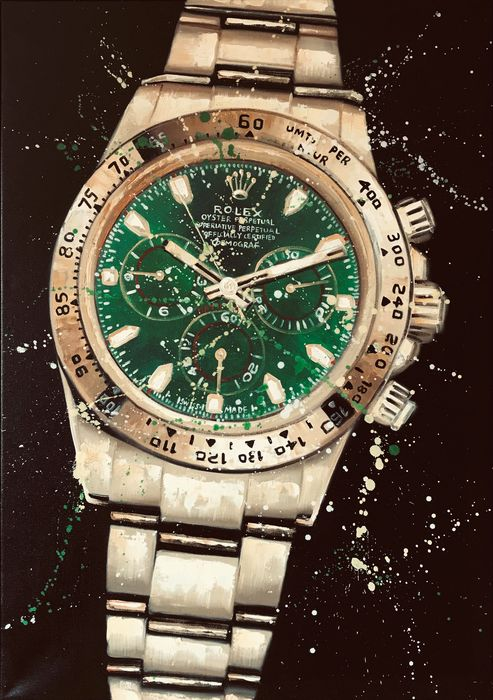 Preview of the first image of A Wadja - Street ARTRolex Daytona GoldGreen Dial116508.