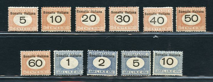Italian Somalia 1926 - Postage-due stamps - overprinted with values in black - Sassone NN. Tx41/51