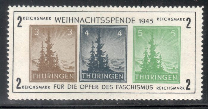 """Allied Occupation - Germany (Soviet zone) 1945 - Thuringia """"Christmas Block"""" in rare colour variety - Michel Bl. 1 xb"""