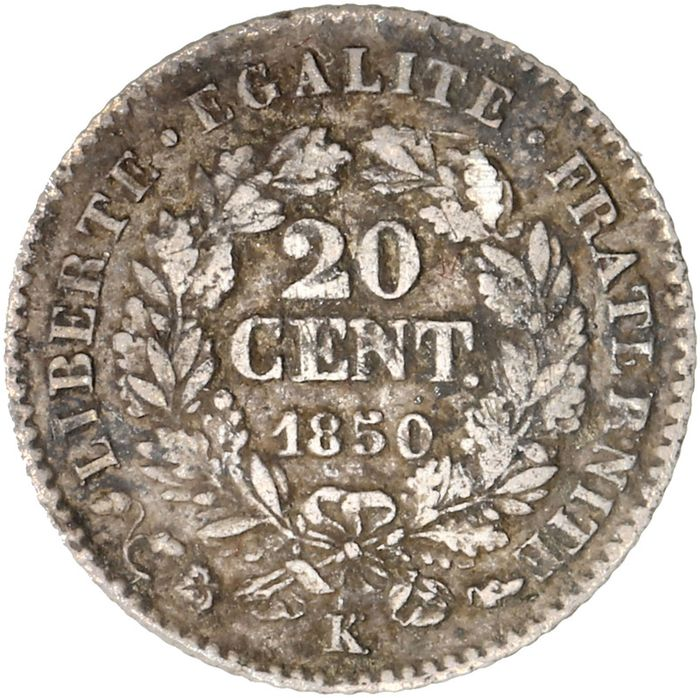 France - 20 Centimes 1850-K (Bordeaux) - Silver