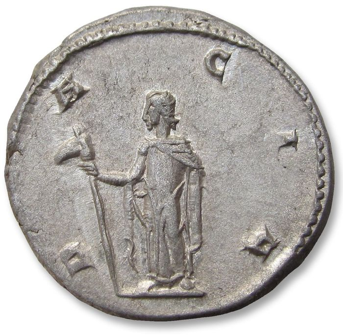 Romeinse Rijk - AR antoninianus, Trajan Decius - mint state & very heavy almost 6 gram - Rome mint 249-250 A.D. - DACIA, variety with Dacia holding staff with wolf's head (=draco) - Zilver