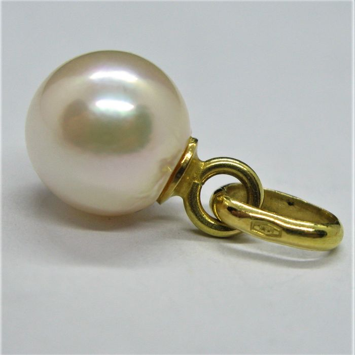 18 kt. Akoya pearl, Yellow gold, Ø 8.65 mm - Pendant Pearl