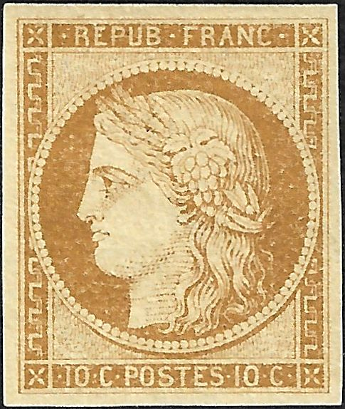 Francia 1850 - Ceres, 10 centimes bistre, of exceptional quality. - Yvert 1