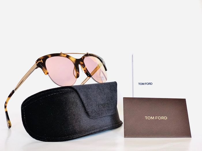 Tom Ford - ADRIENNE-TF517-56Z, Cat *2, Brown Acetate & Gold, Mirrored lenses Clubmaster, *Brand-new designer Sunglasses