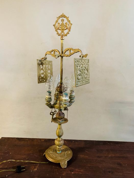 Table lamp, Louis XVI Style 4-Arm Brass Bouillotte Table Lamp, 1950s - Bronze (gilt/silvered/patinated/cold painted)
