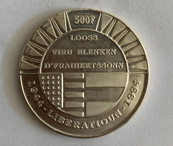 "Luxembourg - 500 FRANCS 1994 ""50th anniversary of Liberation"" - Silver"