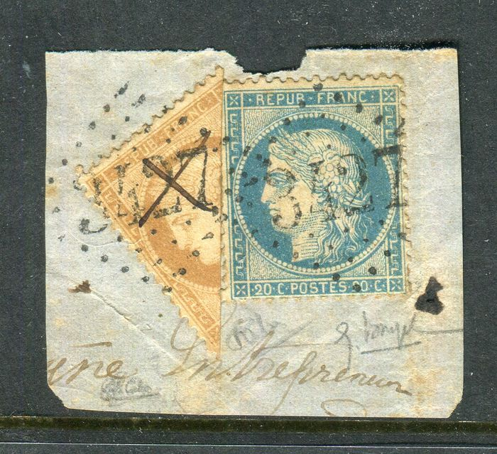 Frankreich 1871 - Rare fragment of a letter with the No. 36 cut in half, signed Calves.