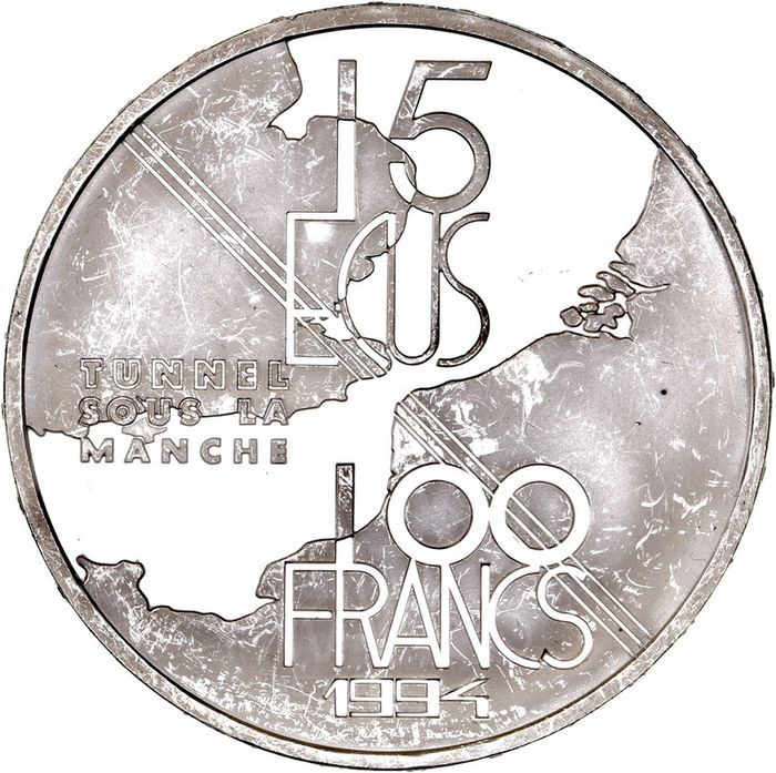 France - 100 Francs 1994 Tunnel sous la Manche - Silver