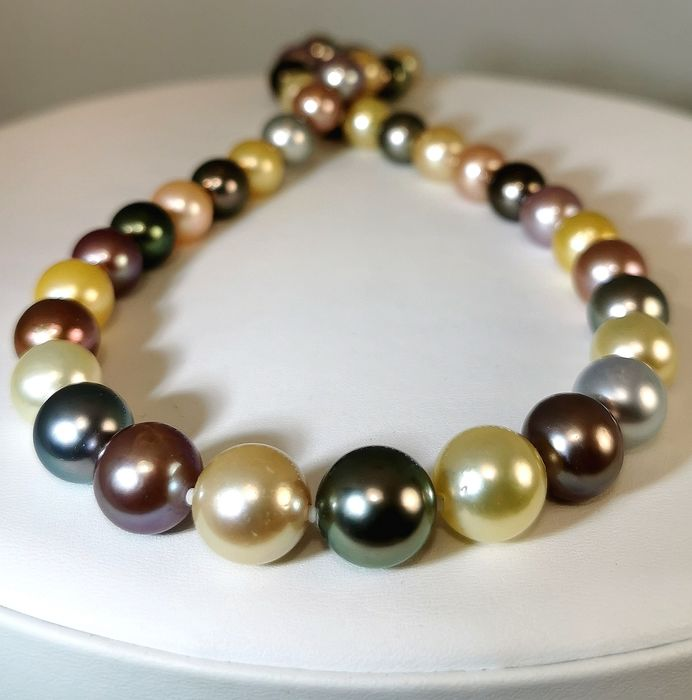 #LOW RESERVE PRICE# Freshwater pearls, Multicolor south sea pearls, South sea pearls, Steel, Tahitian pearls, 10x13mm - With beautiful Edison pearls - Necklace
