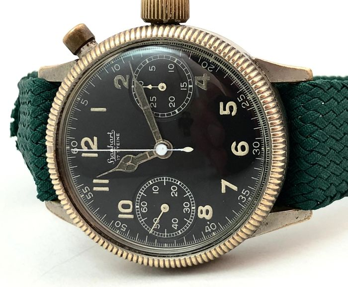 """Hanhart - Monopusher  WWII """"NO RESERVE PRICE"""" - cal.40 - Homme - 1901-1949"""