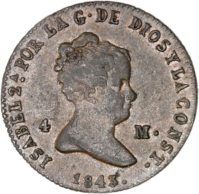 Spain - 4 Maravedis 1843 (Ségovie) - Copper