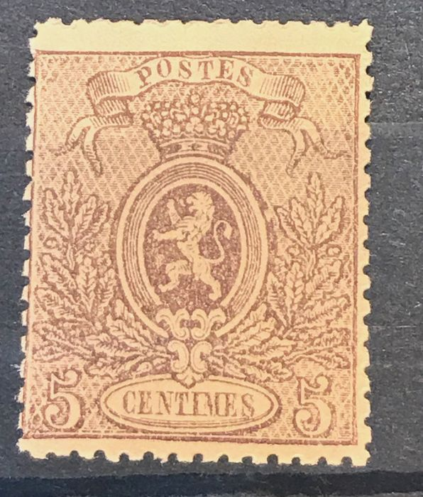 Belgium 1866/1867 - Small lion - 5c brown - MNH - OBP / COB 25A
