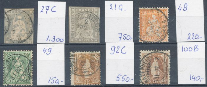 Switzerland 1854/1907 - 6 better classic stamps